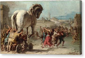 The Procession Of The Trojan Horse Into Troy Canvas Print