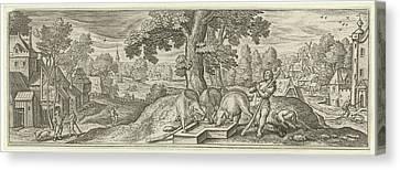 The Prodigal Son As A Swineherd, Julius Goltzius Canvas Print by Julius Goltzius And Hans Bol And Claes Jansz. Visscher (ii)