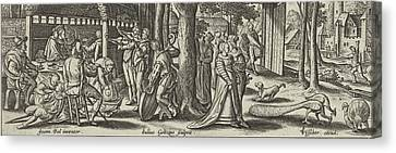 The Prodigal Son Squanders His Money, Julius Goltzius Canvas Print by Julius Goltzius And Claes Jansz. Visscher (ii)