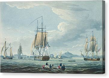 The Prometheus And The Melpomene In The Gulf Of Riga Canvas Print by Thomas Whitcombe