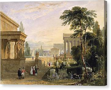 Caryatids Canvas Print - The Proposed Grand National Cemetery by Francis Goodwin