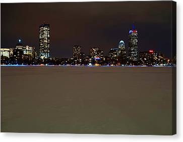 The Pru Lit Up In Red White And Blue For The Patriots Canvas Print by Toby McGuire