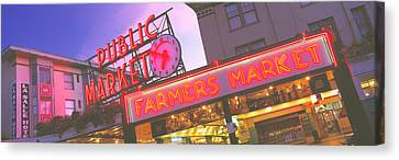 The Public Market Seattle Wa Usa Canvas Print by Panoramic Images