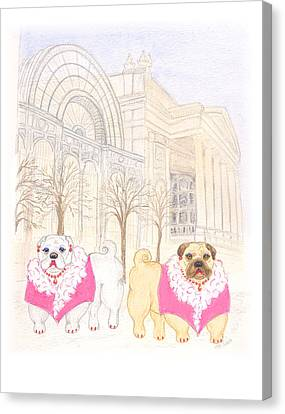 Canvas Print featuring the painting The Pugsleys A Night At The Opera by Stephanie Grant