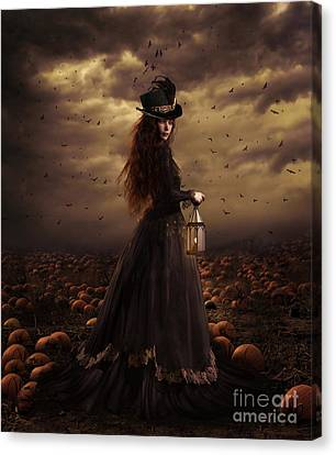 Gothic Canvas Print - The Pumpkin Patch by Shanina Conway