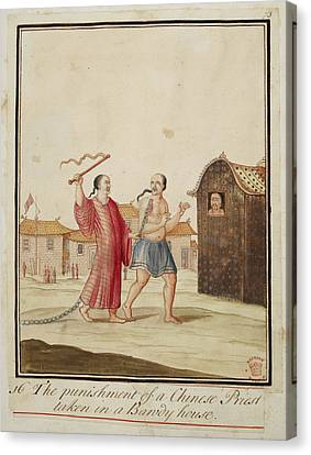 Punishment Canvas Print - The Punishment Of A Chinese Priest by British Library