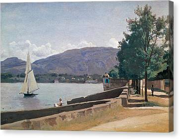 The Quai Des Paquis In Geneva Canvas Print by Jean Baptiste Camille Corot
