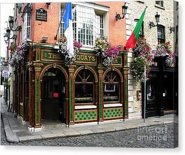 The Quays In Dublin Canvas Print by Mel Steinhauer