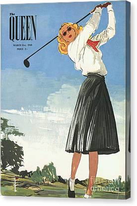 The Queen 1940s Uk Golf Womens Canvas Print by The Advertising Archives