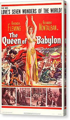 1950s Poster Art Canvas Print - The Queen Of Babylon, Us Poster, Middle by Everett