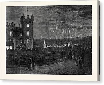 The Queens Visit To The Scottish Border The Fireworks Canvas Print by English School