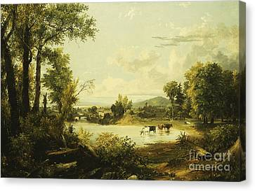 The Quiet Valley Canvas Print by Jasper Francis Cropsey
