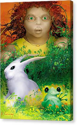 The Rabbit And The Frog Canvas Print by Robert Conway