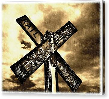 Train Crossing Canvas Print - The Railroad Crossing by Glenn McCarthy Art and Photography