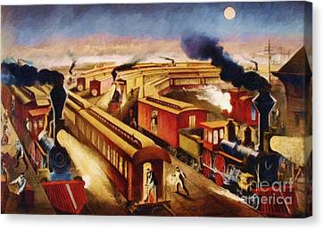 The Railroad Junction - Circa 1880 Canvas Print by Lianne Schneider