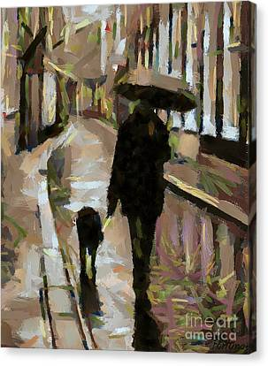 The Rainy Walk Canvas Print