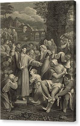 The Raising Of Lazarus 1886 Engraving Canvas Print by Antique Engravings