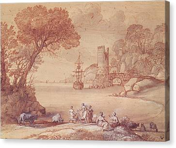 Zeus Canvas Print - The Rape Of Europa, 1655 Pen, Ink & Wash by Claude Lorrain