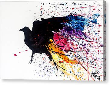 Canvas Print featuring the painting The Raven by Joshua Minso