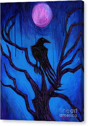 Canvas Print featuring the painting The Raven Nevermore by Roz Abellera Art