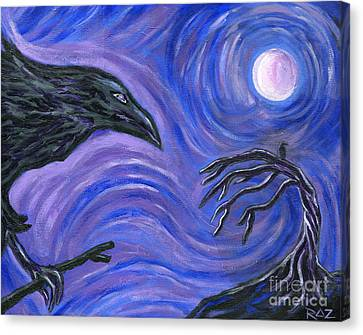 Canvas Print featuring the painting The Raven by Roz Abellera Art