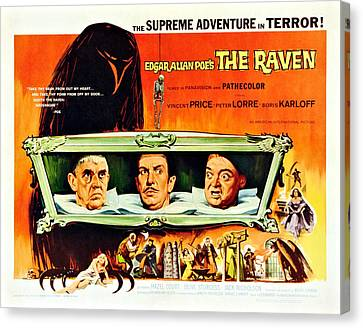 The Raven, Us Lobbycard, From Left Canvas Print by Everett