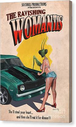 Horror Car Canvas Print - The Ravishing Womantis by Richardson Comly