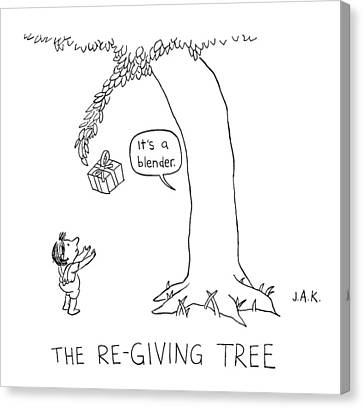 The Re-giving Tree: A Tree Offers A Child Canvas Print by Jason Adam Katzenstein