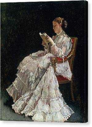 Concentration Canvas Print - The Reader, C.1860 by Alfred Emile Stevens