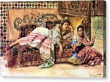 Orientalists Canvas Print - The Reader by Rodolf Ernst