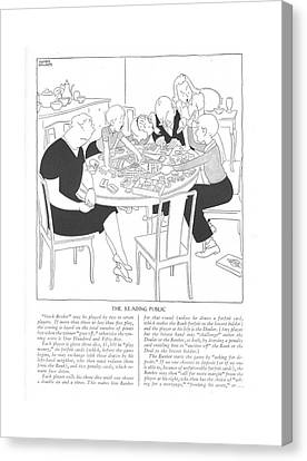 The Reading Public  Stock Broker May Be Played Canvas Print by Gluyas Williams