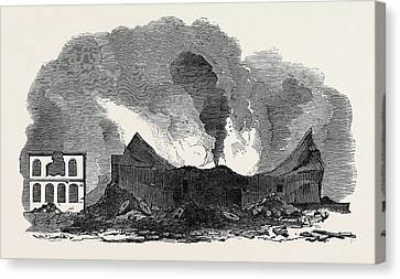 The Recent Fire At San Francisco Canvas Print by English School