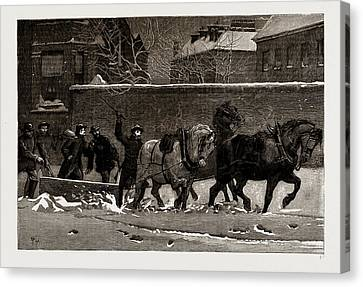 The Recent Frost And Snow Storm In London A Snow-plough Canvas Print by Litz Collection
