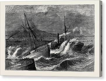 Stormy Weather Canvas Print - The Recent Gale, Wreck Of The Steamer Chusan Off Ardrossan by English School