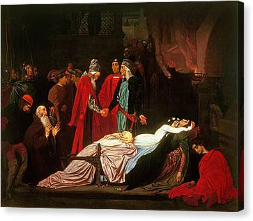 The Reconciliation Of The Montagues And The Capulets Over The Dead Bodies Of Romeo And Juliet Oil Canvas Print by Frederic Leighton