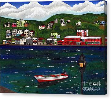The Red And White Fishing Boat Carenage Grenada Canvas Print