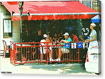 The Red Awning Cafe On St. Denis - A Shady Spot To Enjoy A Cold Beer On A Very Hot Sunday In July Canvas Print by Carole Spandau
