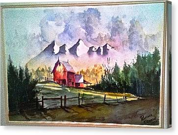 The Red Barn Angry Sky Sold Canvas Print