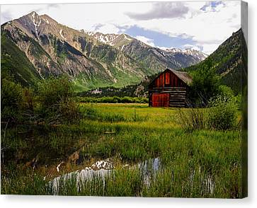 The Red Barn Door Canvas Print by The Forests Edge Photography - Diane Sandoval