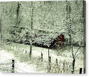 The Red Barn Canvas Print by Mimi Saint DAgneaux