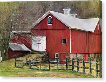 The Red Barn Canvas Print by Posey Clements