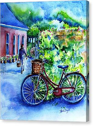 Canvas Print featuring the painting The Red Bike  by Trudi Doyle