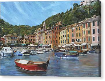 Portofino Cafe Canvas Print - The Red Boat by Emily Olson