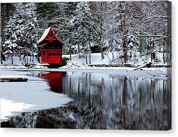 The Red Boathouse In Winter Canvas Print by David Patterson