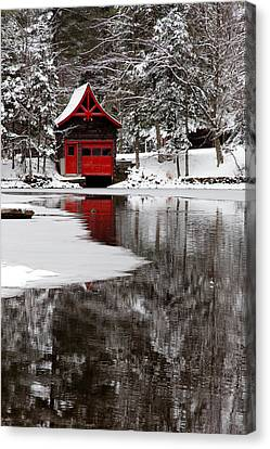 The Red Boathouse On Beaver Brook Canvas Print by David Patterson