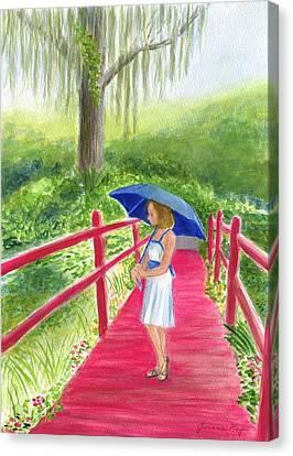 The Red Bridge Canvas Print by Jeanne Kay Juhos