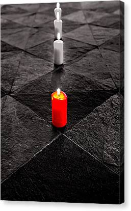 Canvas Print featuring the photograph The Red Candle by Marwan Khoury