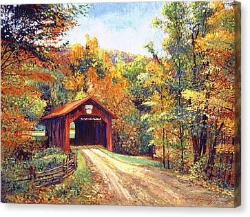 New England Autumn Canvas Print - The Red Covered Bridge by David Lloyd Glover