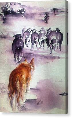 The Red Dog Canvas Print by Leslie Franklin