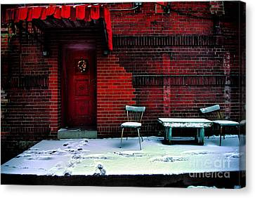 Porch Canvas Print - The Red Door by Amy Cicconi